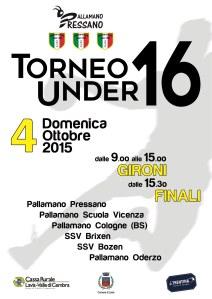 Locandina Torneo Under 16 Pressano 4 ottobre